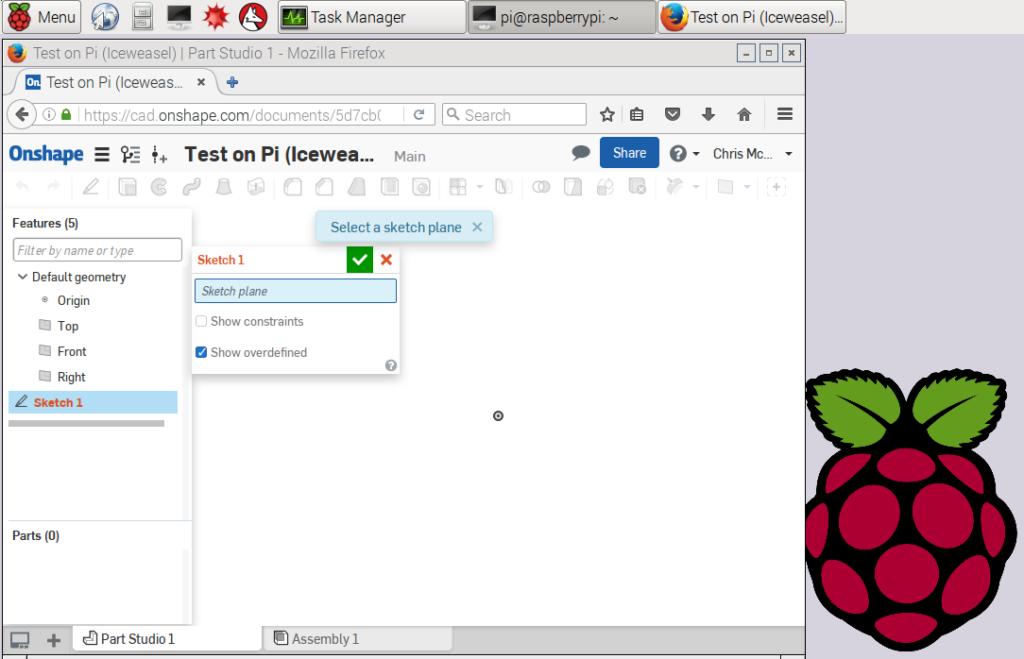 Iceweasel running Onshape on Raspberry Pi