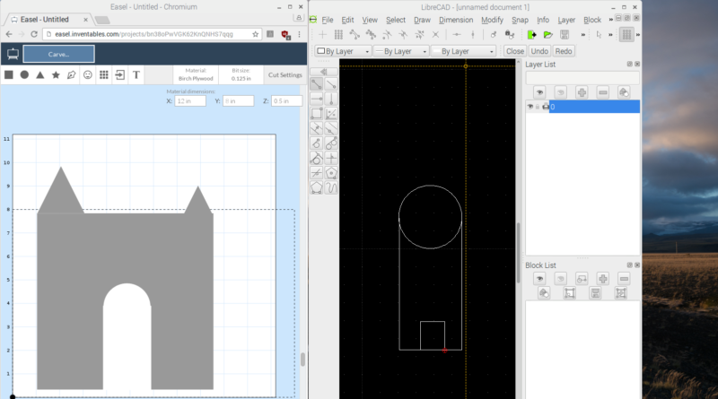 Easle and LibreCAD for 2D CAD on a raspberry Pi with Raspbian