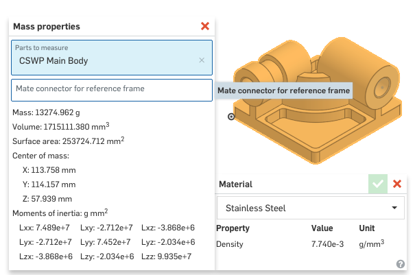 Assigning Custom Density Material in Onshape