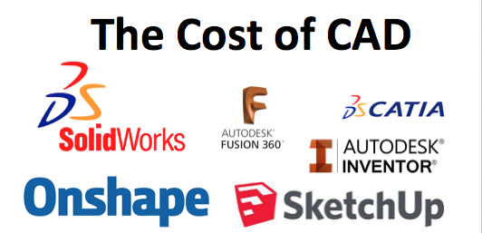 Pricing Of Por Cad Programs Solidworks Vs Onshape Inventor Solidedge Catia Sketchup Etc